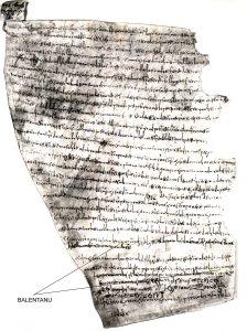 """Manoscritto risalente all'anno 844. Evidenziata dalle frecce la parola """"BALENTANU"""""""